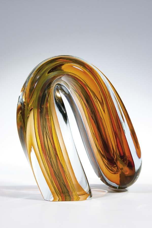 1044: Harvey K. Littleton Glass Object 1982 Sculpture