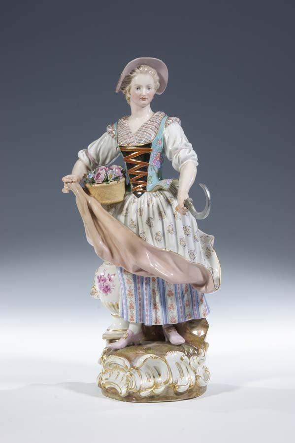 2:  Porzellan Meissen Gaertnerin Gardener Vintage