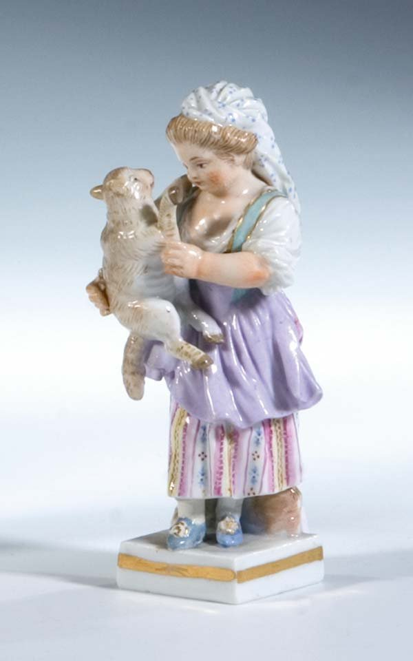 10:  Maedchen Lamm Porzellan Meissen Porcelain Girl