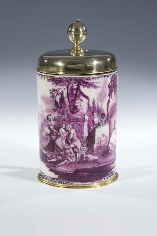 17:  Walzenkrug Meissen Porzellan Porcelain Jug Vintage