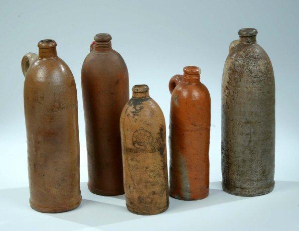 366:  5 Mineralwasserflaschen Stoneware Water Bottles