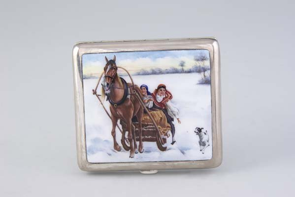1209:  German Silver Plated Cigarette Case Russian Sled