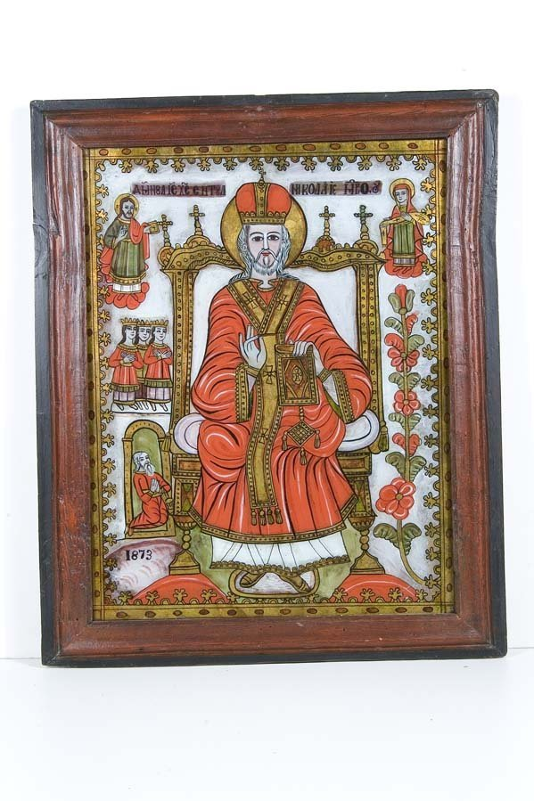 2001:  Romania Glass Icon Saint Nicholas Arpasul De Sus