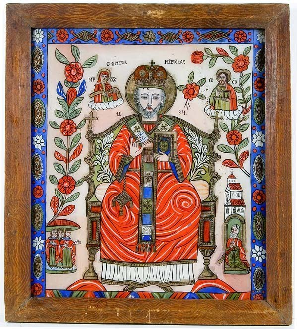 2002:  Romania Glass Icon Saint Nicholas Cirtisoara