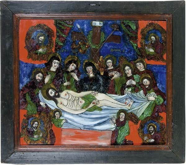 2019:  Romania Glass Icon Christ's Entombment Ion Morar