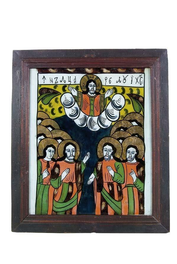 2028:  Romania Glass Icon Ascension Nicula
