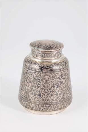 Silber- und Niello Teedose