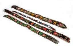 Vier Trachtengürtel aus Leder