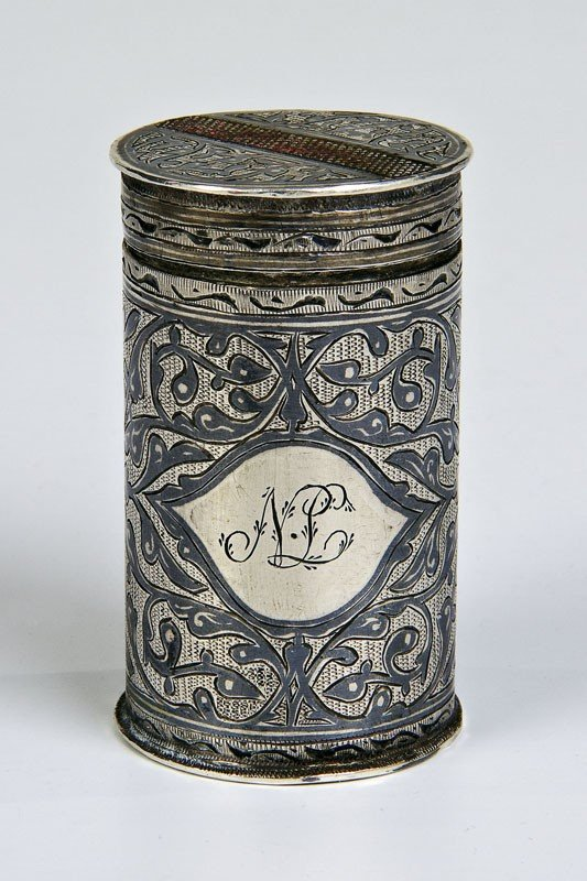 21: A rare silver and niello match case decorated with
