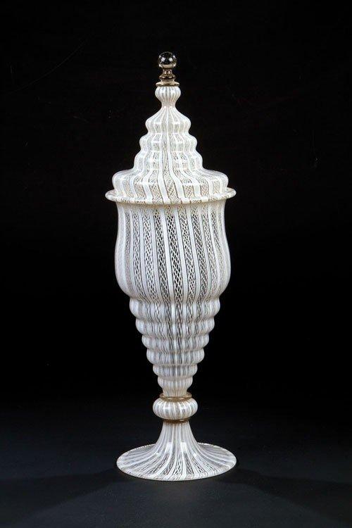 "4: A goblet with cover ""vetro a retorti"" Facon de Venis"
