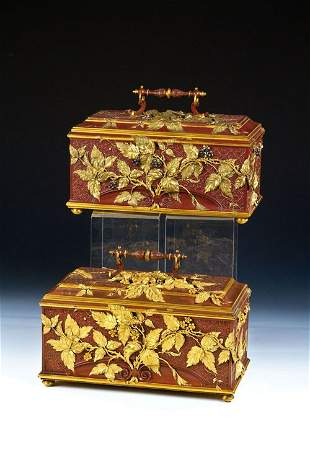 72: A pair of rare Caskets Émile-Auguste Reiber for Chr