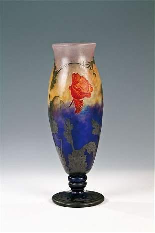 """80: A glass vase """"Pavot d'Orient"""" Henri Bergé for Daum"""