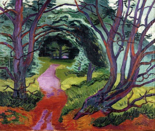 184: Waldweg. 1927. Oil on canvas. Lower right signed a