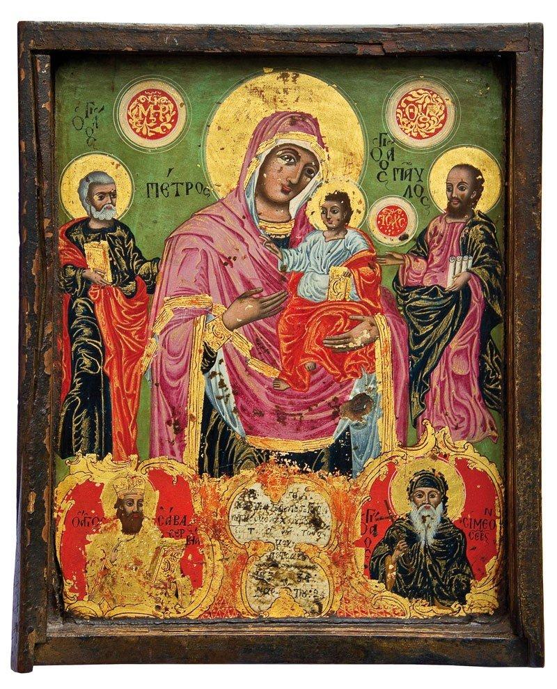 4: Datierte Ikone mit der Muttergottes und Heiligen