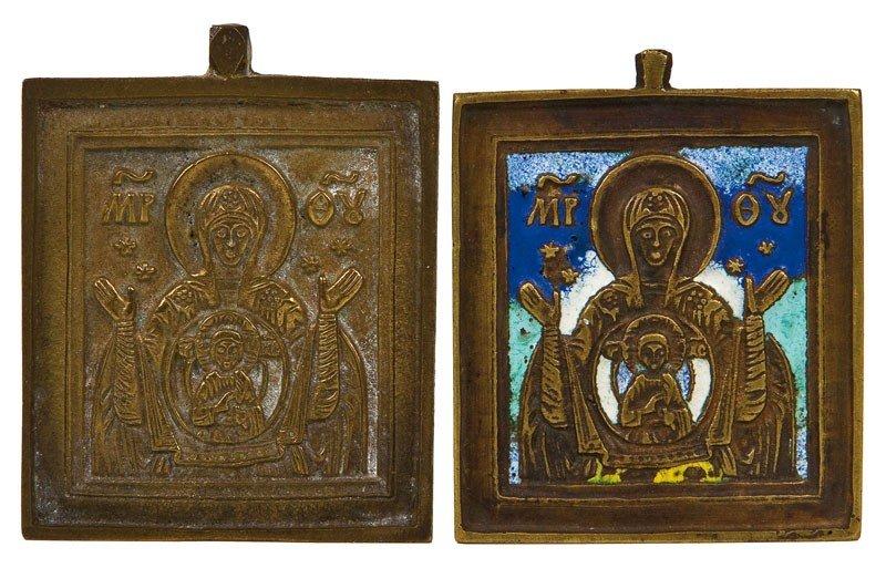 23: Zwei Bronzeikonen mit der Muttergottes Znamenie