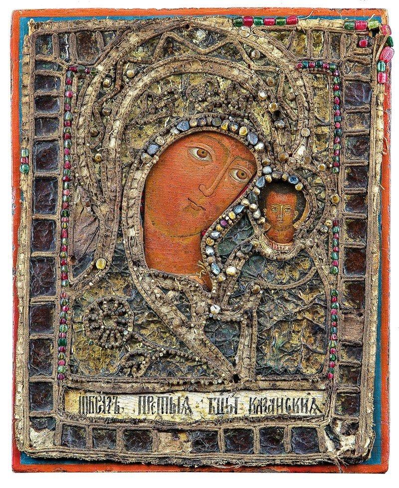 21: Gottesmutter von Kasan mit Perlenstickerei-Oklad