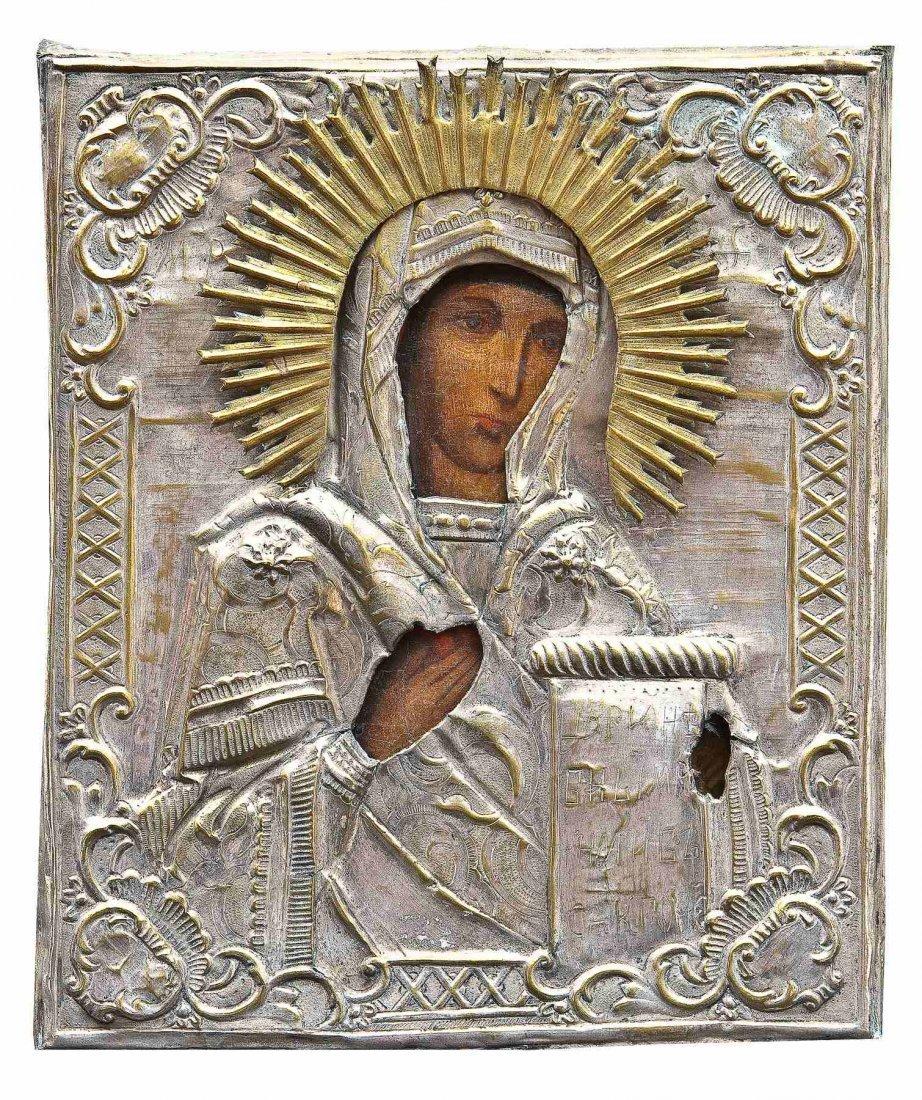 21: Gottesmutter aus einer Deesis mit Oklad