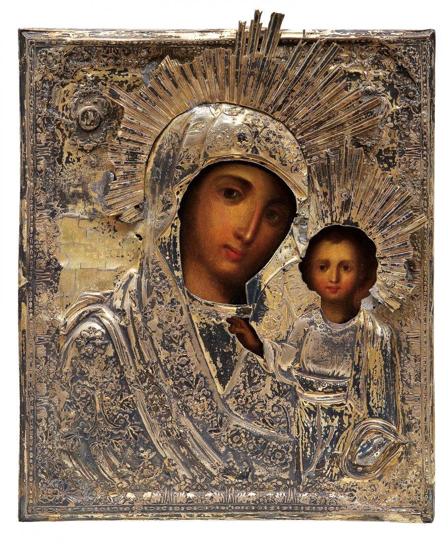 22: Gottesmutter von Kasan mit vergoldetem Oklad