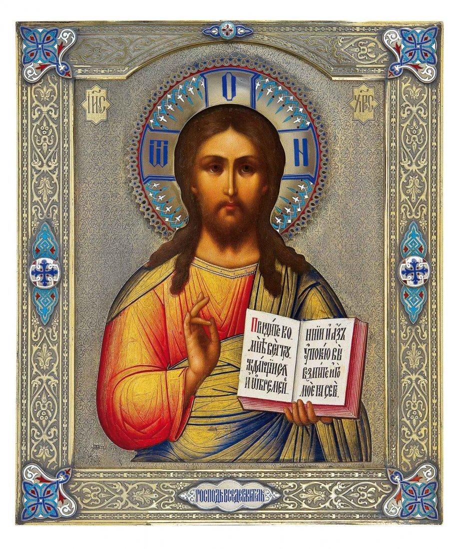 120: Bedeutende Ikone: Christus Pantokrator mit Chample