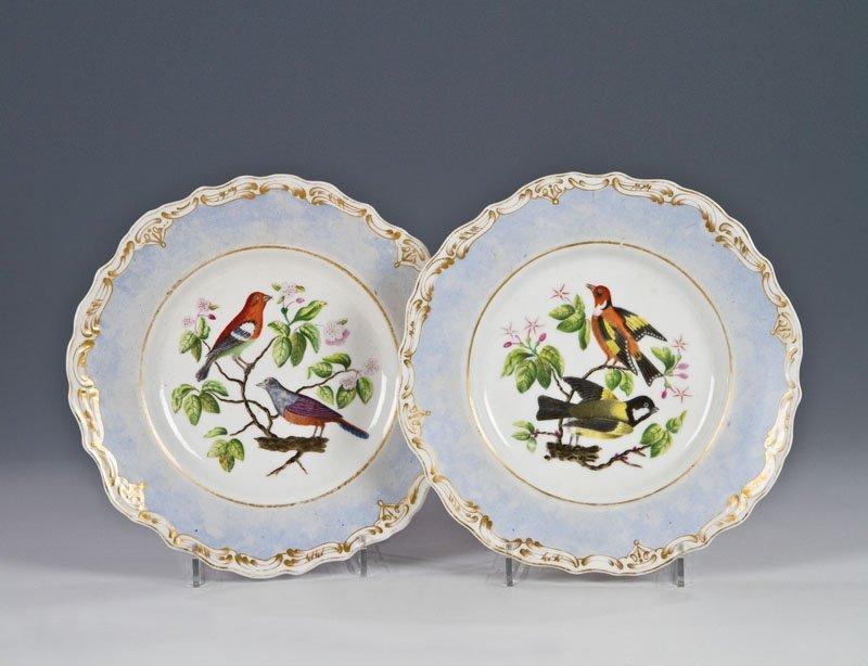 Paar Teller mit Vogelmalerei
