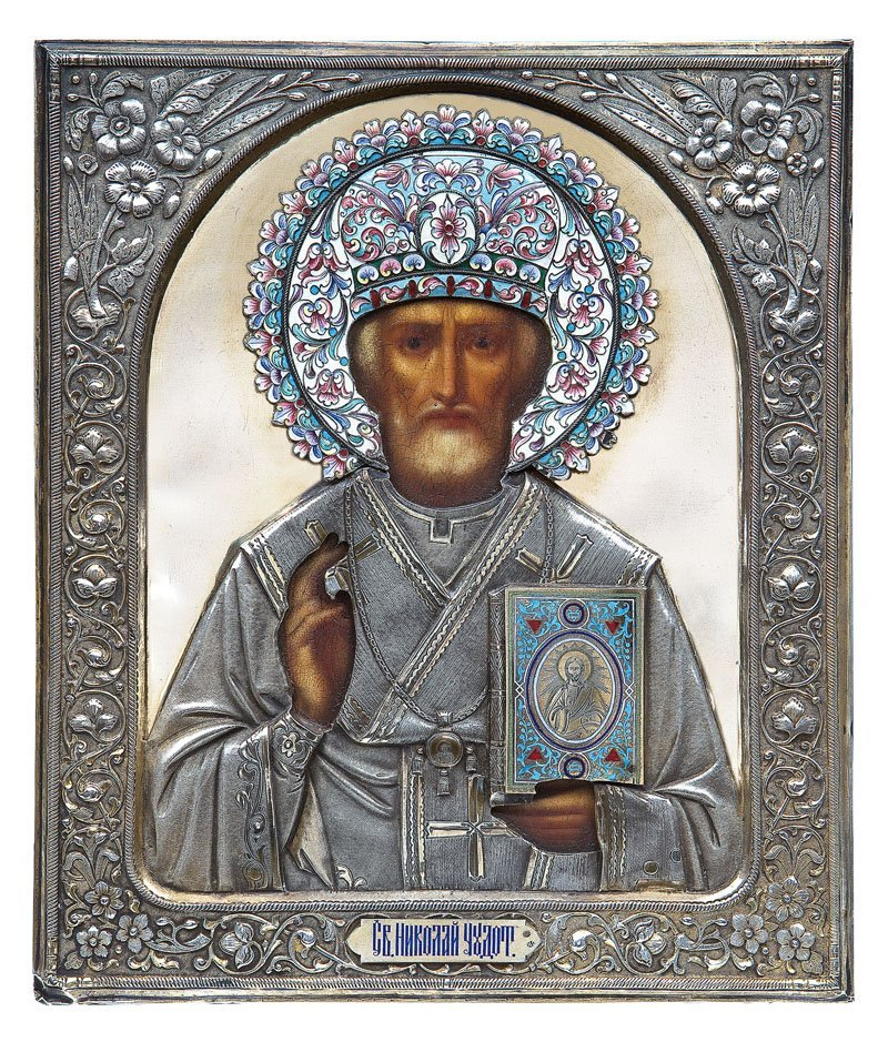 Heiliger Nikolaus der Wundertäter mit Cloisonné-Email-O