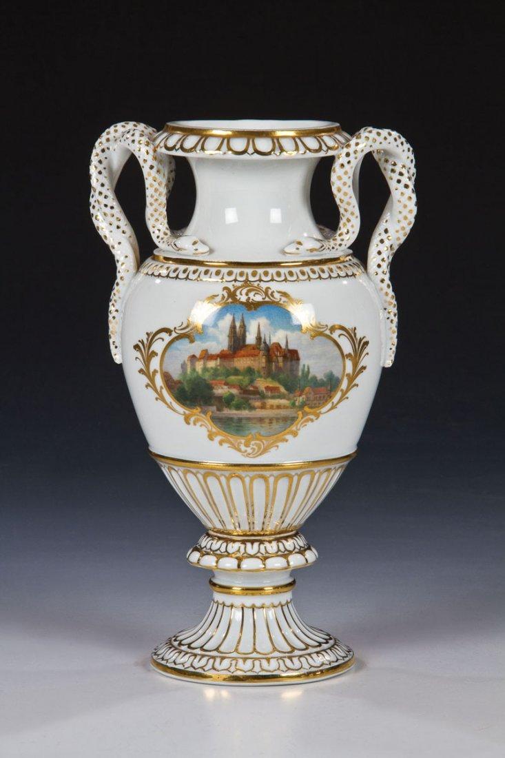 Schlangenhenkel - Vase mit Ansicht der Albrechtsburg