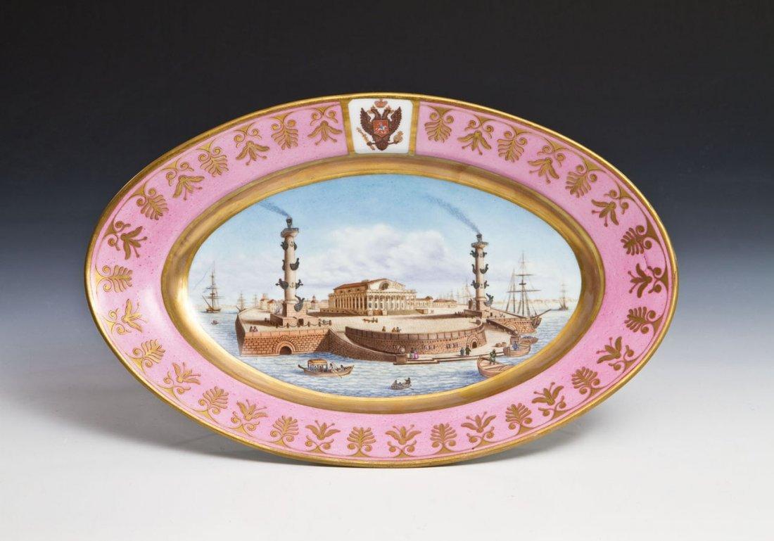 Große Porzellanplatte mit Ansicht von St. Petersburg