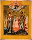 Groformatige Ikone mit dem Heiligen Nikolaus und dem