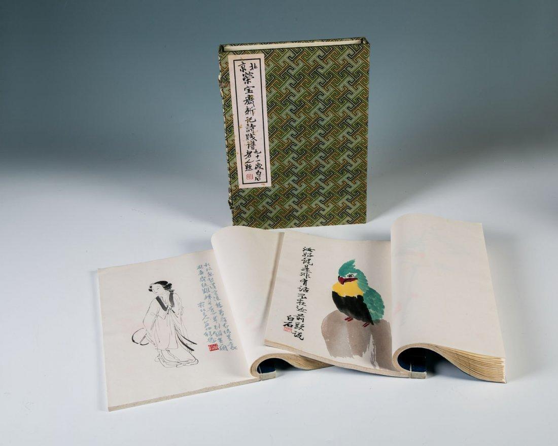 Zwei Malereihandbücher mit Drucken im Stil des