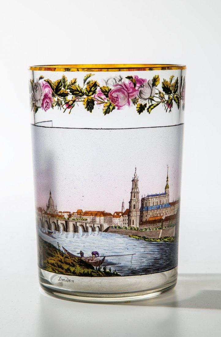 Bedeutender Zylinderbecher mit Ansicht von Dresden