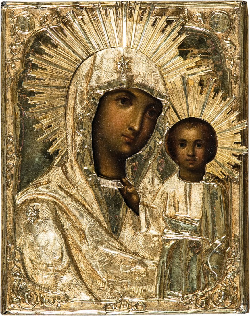 Gottesmutter von Kazan mit Silberoklad