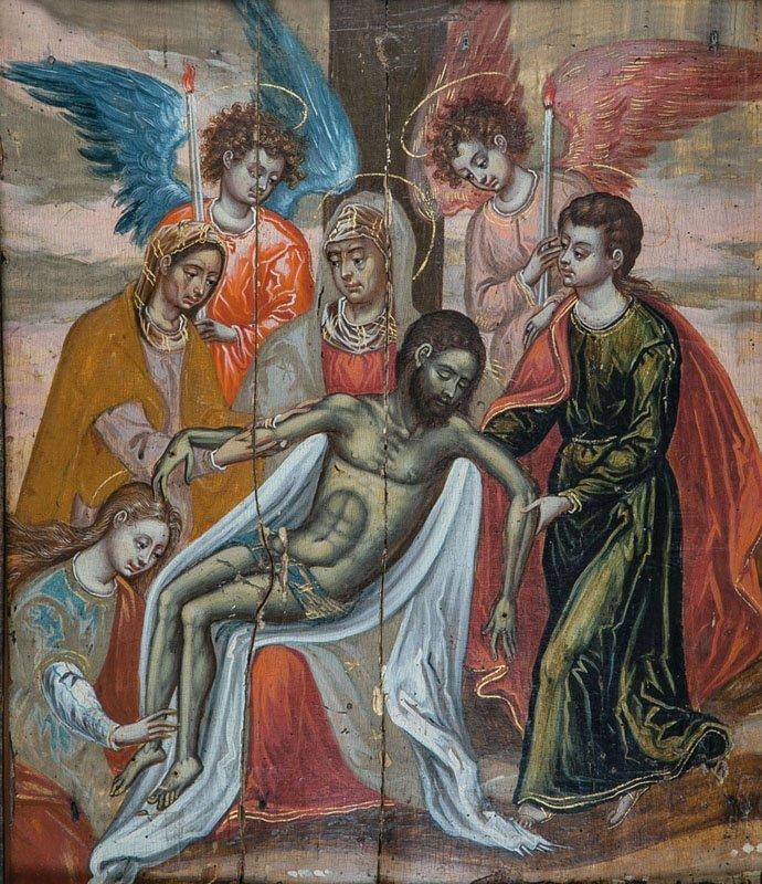 Tafelbild: Pietà mit Engeln