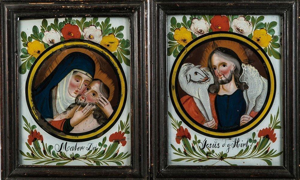 Zwei Hinterglasbilder