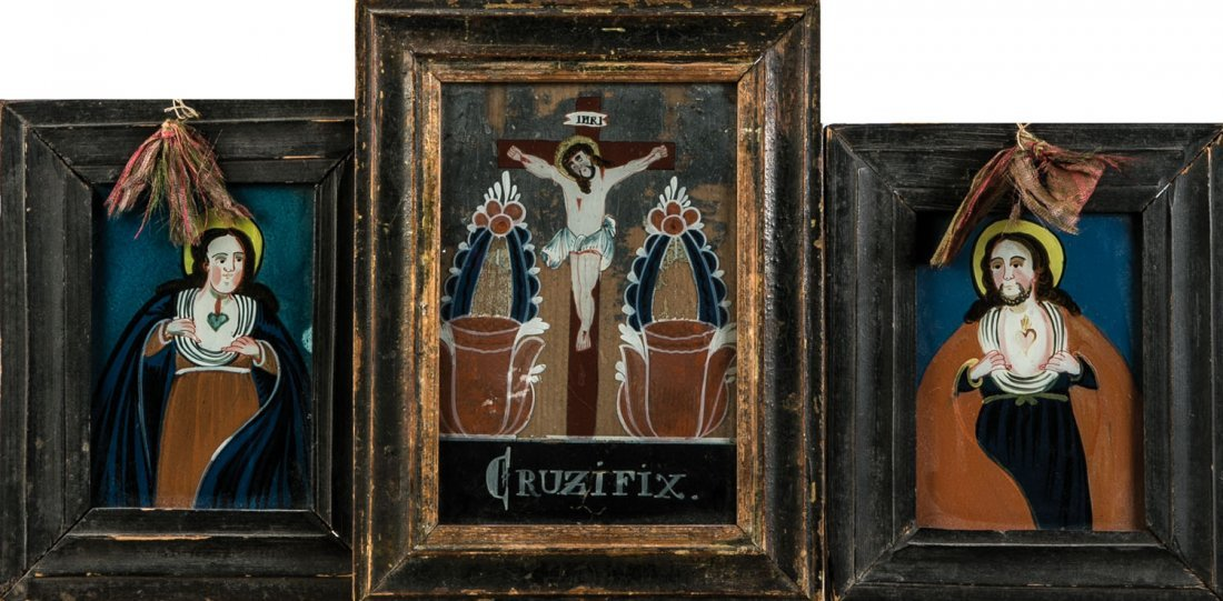 Nonnenspiegel und zwei Hinterglasbilder mit Herz