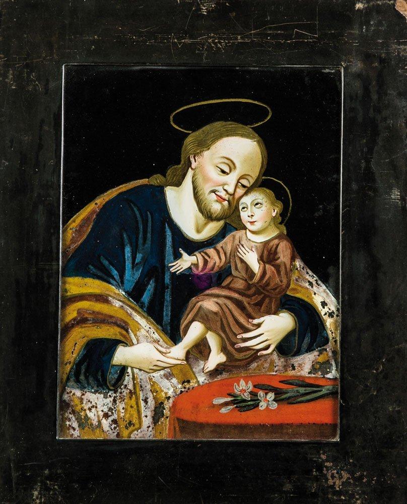 Hinterglasbild mit Josef und dem Jesusknaben
