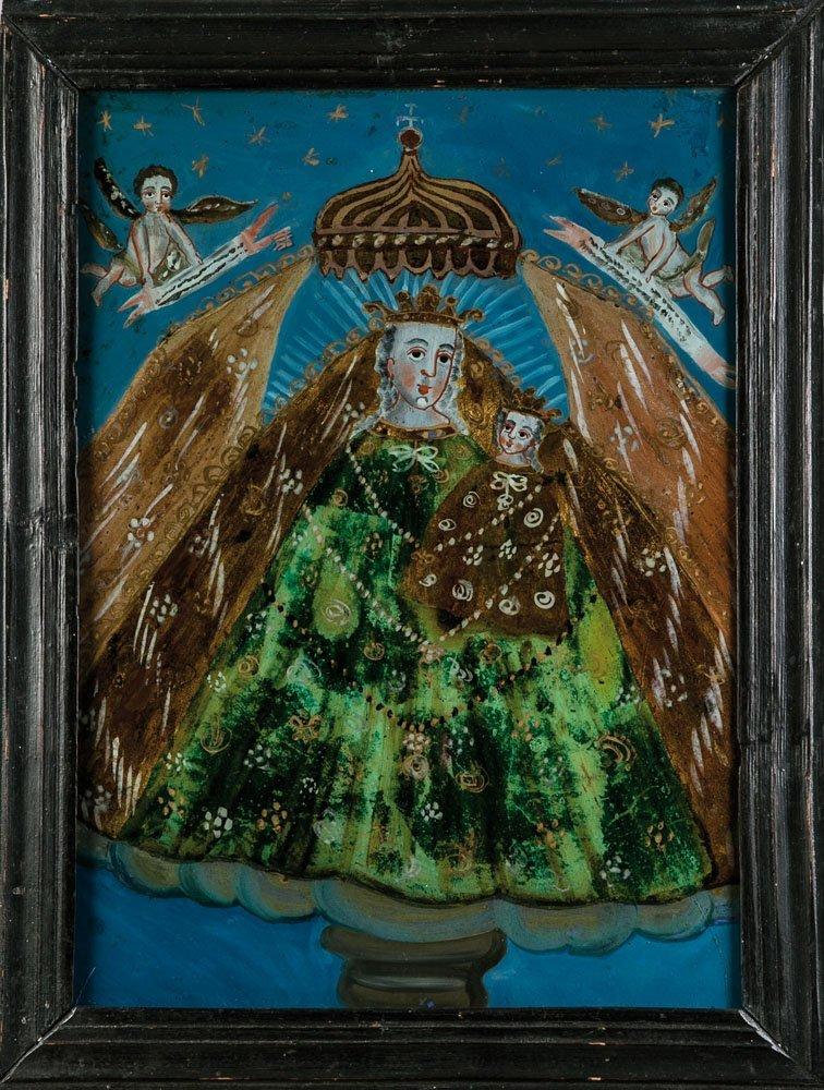 Hinterglasbild mit dem Gnadenbild Maria im Schatten