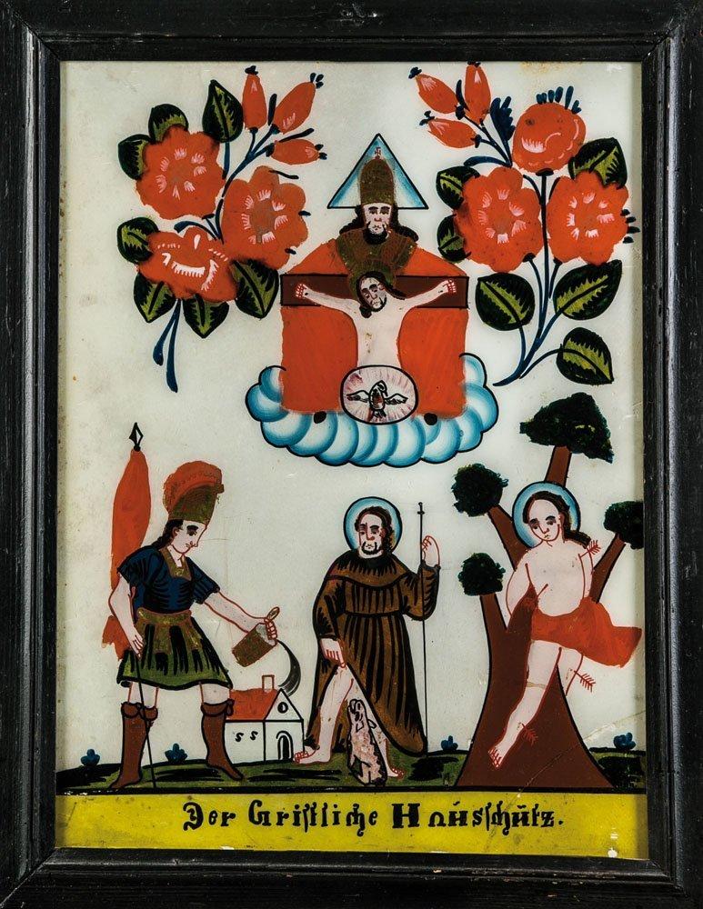 Hinterglasbild ''Der Christliche Hausschutz''