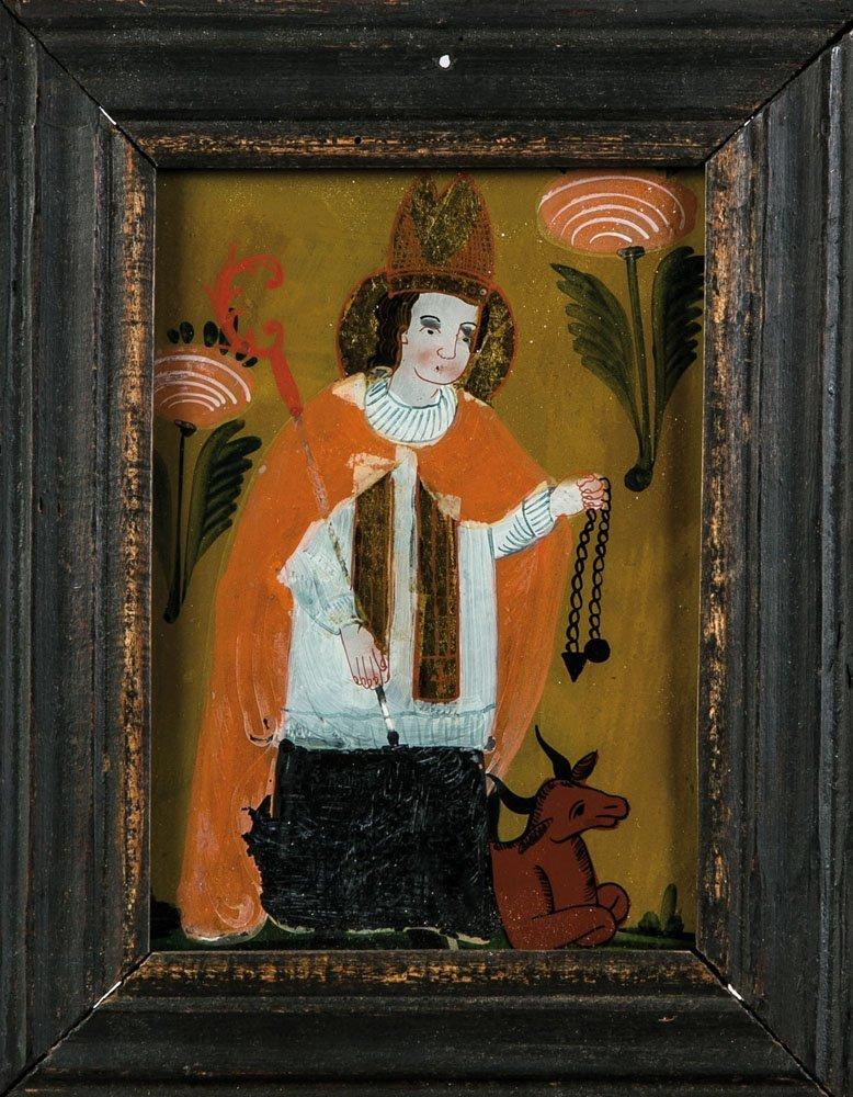 Hinterglasbild mit dem Hl. Leonhard