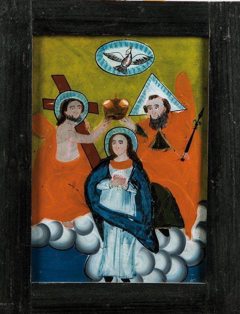 Hinterglasbild mit der Krönung Mariens