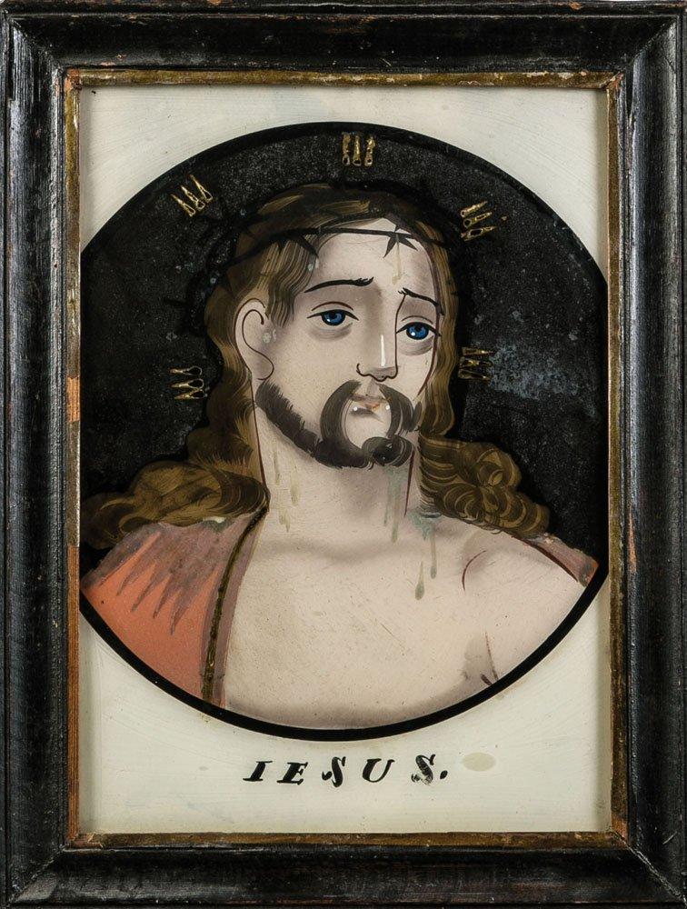 Hinterglasbild bez. ''JESUS''