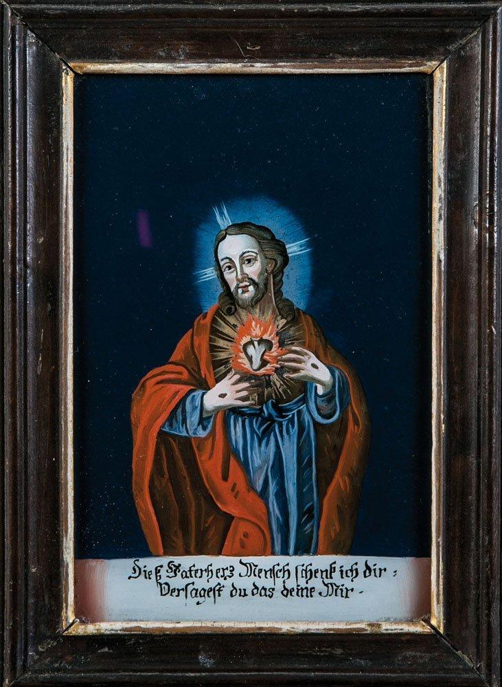 Paar Hinterglasbilder mit Herz Jesu und Herz Mariens