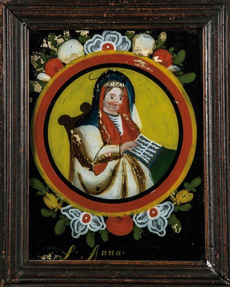 Hinterglasbild mit der Heiligen Anna