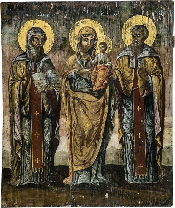 Großformatige Ikone mit der Gottesmutter Hodegetria