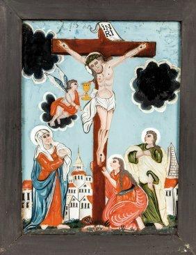 Hinterglasbild Mit Der Kreuzigung