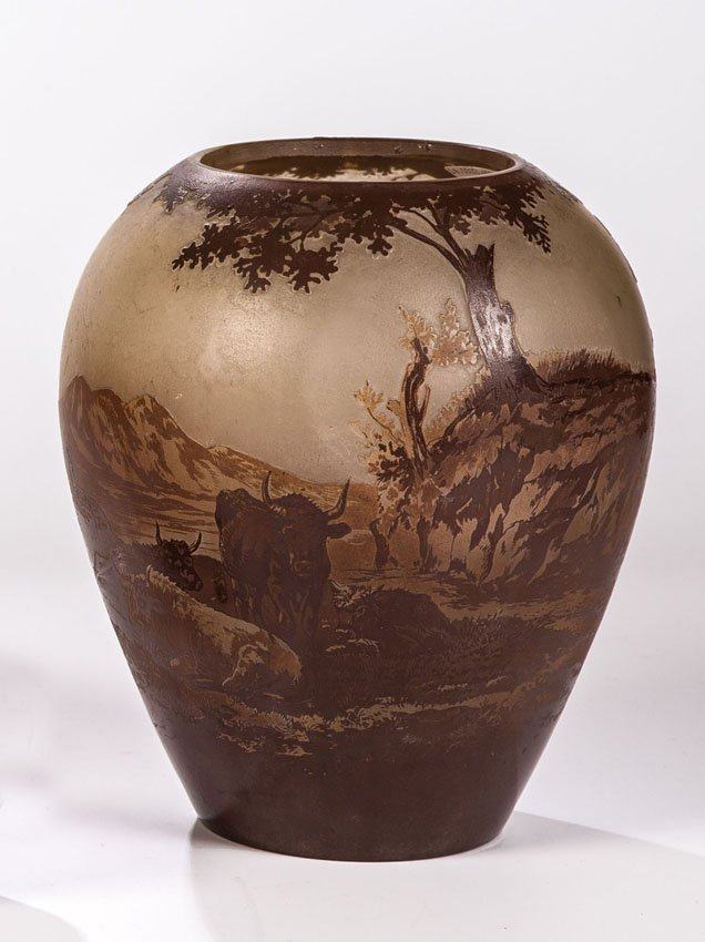 Vase mit Kuhherde