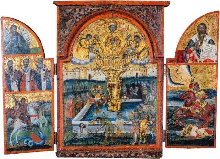 Triptychon mit der Gottesmutter ''Lebenspendende
