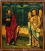 Groe Ikone mit dem Apostel Paulus und Erzengel Gabriel