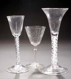 18: Kelchglas u. 2 Fadengläser-glass beaker +2 cups