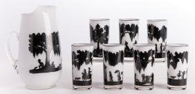 Carew Rice Silhouette Pitcher & 7 Glasses