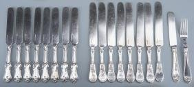 Group Coin Silver Knives, 17 plus 1 fork